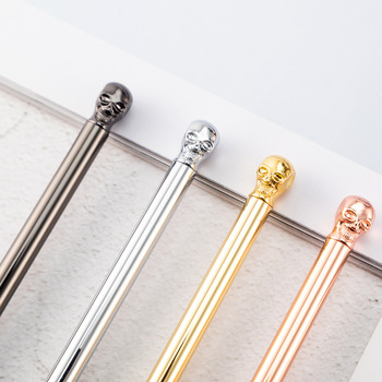 Brand Punk skull Metal Roller Ball Pen Luxury Ballpoint Pen Writing Gift Office School Supplies Black Ink Refills 1.0mm new crystal ballpoint pen roller ball pen instead of fountain pen pencil box and bag brand gift stationery office school