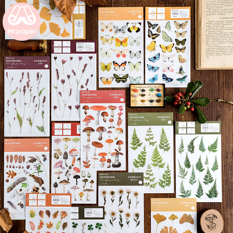 Mr.Paper 16 Designs Natural Story Transfer Printing Stickers Transparent PVC Material Flowers Leaves Mushroom Plants Stickers