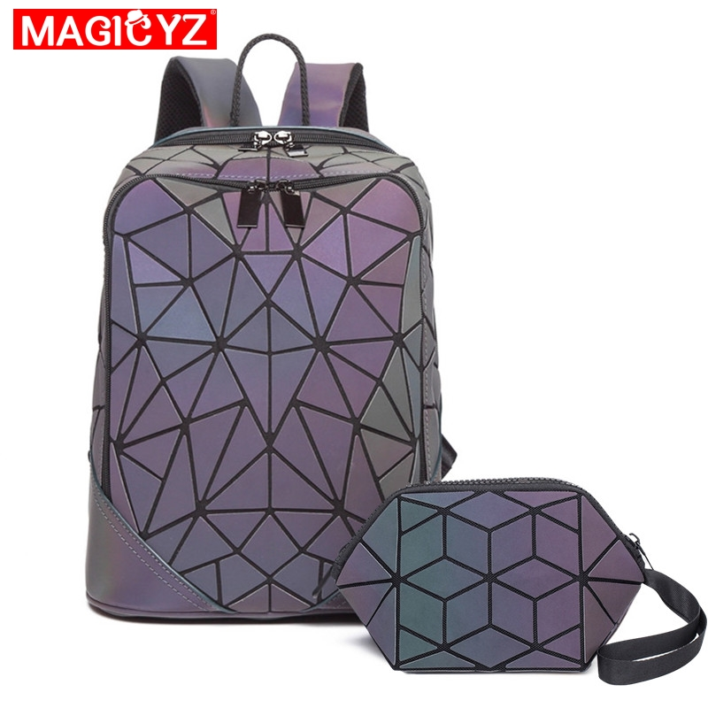Fashion Luminous Triangle Sequin Backpack For Women Men Set Rucksack Female Lattice Backbag Laser Holographic Mochila Sac A Dos