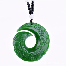 Dropshipping Green HETIAN Jades Donut Pendant Necklace  Hand-carved Chinese dragon Pendants Women Mens Fashion Jewelry