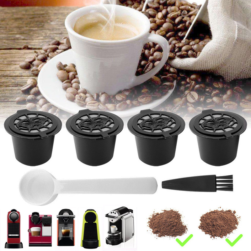 4PCS Refillable Reusable <font><b>Coffee</b></font> Capsules Pods For Nespresso Machines with spoon brush sweet taste image
