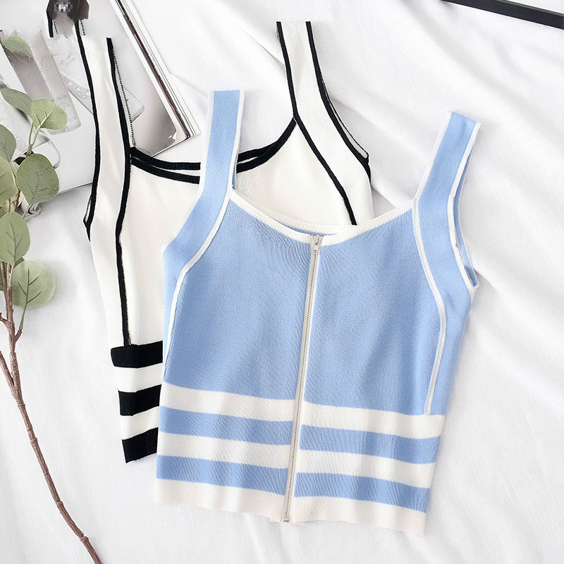 2020 Summer Camis For Women Zipper Camis Striped Spaghetti Crop Top Femme Vest Tank Tops Femme Cotton Knitting Female