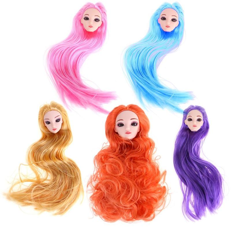 Doll Heads Long Hair 3D Eyes Female Figure Baking Cake Mold DIY Heads Toy