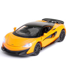 1:32 Die Cast McLaren 600LT Sports Car Model Toy Alloy Simulation Sound Light Pull Back Supercar Toys Vehicle For Gift 066