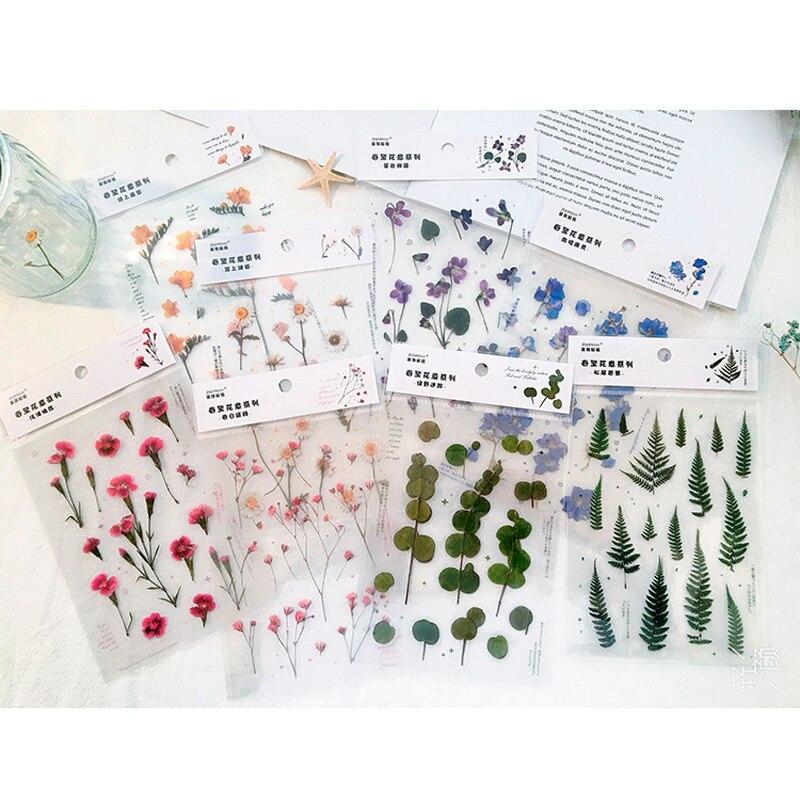 1 Sheet Season Flowers PVC Decorative Bullet Journal Notebook Diary Stickers 10 Designs