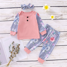 0-24months 3pcs Baby Girls Clothes Set Button Long Sleeve T-Shirt Pink Gray Floral Pant Hairband Newborn