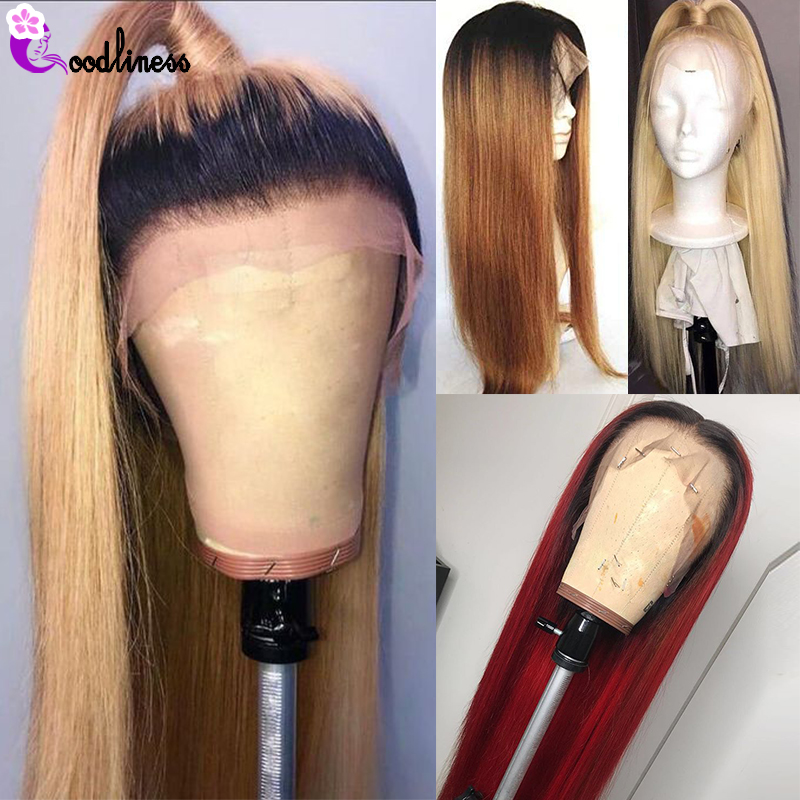 Ombre Brazilian Straight Lace Front Human Hair Wig 13x4 99J Burgundy Blonde 613 Lace Front Wig Colored Human Hair Wigs Remy 150%