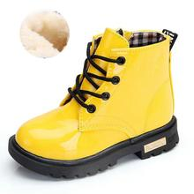 Buy 2019 Autumn Winter Patent Leather Children Boys or Girls Martin Boots Fashion Toddler Kids Boots Warm Plush Boots D50 directly from merchant!