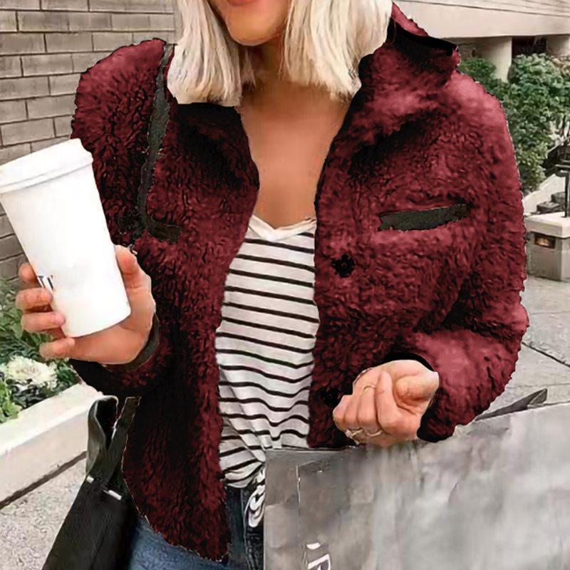 Coat Women Cozy-Jacket Long-Sleeve Outerwear Autumn Winter Plus-Size Turn-Down Casual