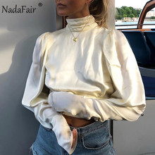 Nadafair High Neck Satin Blouse Long Sleeve Elegant Halter Backless Lace Up Club Sexy Silk Blouse Shirt Women Tops Streetwear(China)