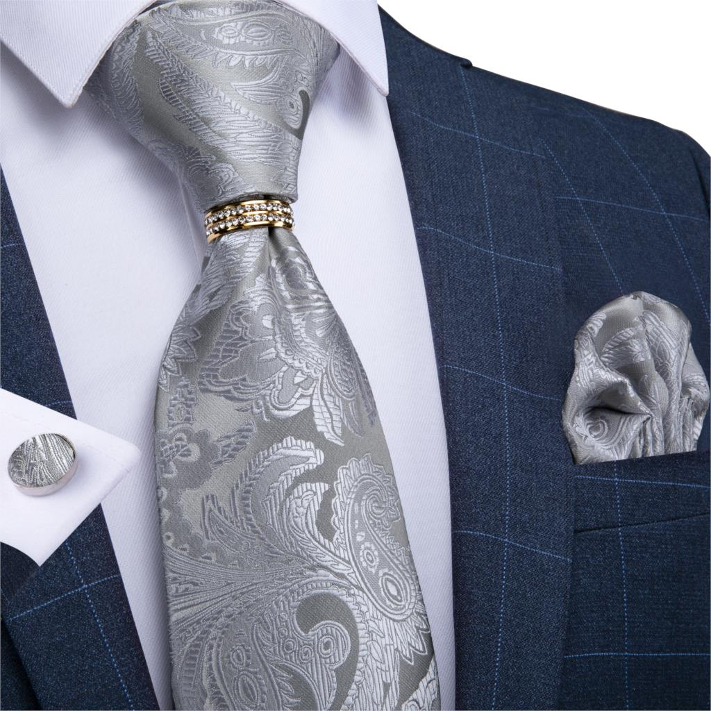 Men Necktie Silver Paisley Wedding Tie For Men Necktie Ring Silk Tie Set Hanky Cufflinks DiBanGu New Designer Business JZ03-7185