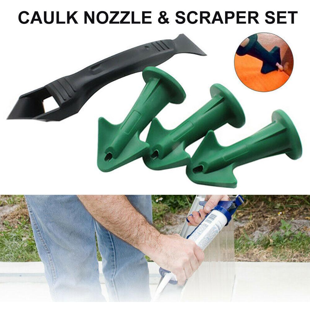 Reusable Silicone Caulk Nozzles Plastic Scraper Set Sealing Caulking Sealant Tools Kit Rubber Trowel Nozzle For Floor Finishings