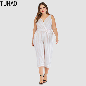 TUHAO 2019 Fashion Plus Size 4XL 3XL Spring Summer Straight Striped Patchwork Office Lady Style Women's Jumpsuits Overalls QH06