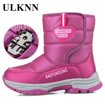 ULKNN Boys Boots Children Snow Boots for Girls Sneakers Winter Kids Sport Plush Warm Girls Boots Anti-slip Student Cotton Shoes new winter snow boots children girls genuine leather boots princess student warm with plush toddler shoes kids 041