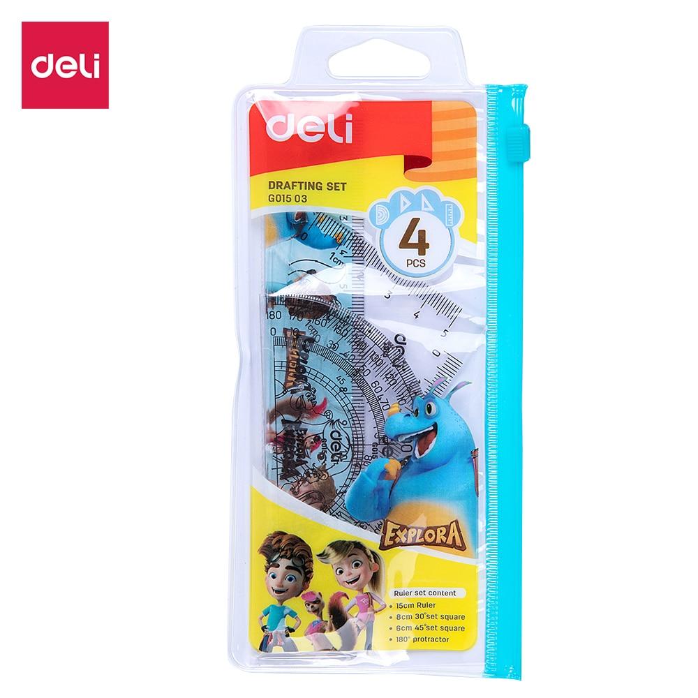 Deli EG01503 Drafting Set 4pcs Ruler Set Squares Protractor Compass 15cm Transparent