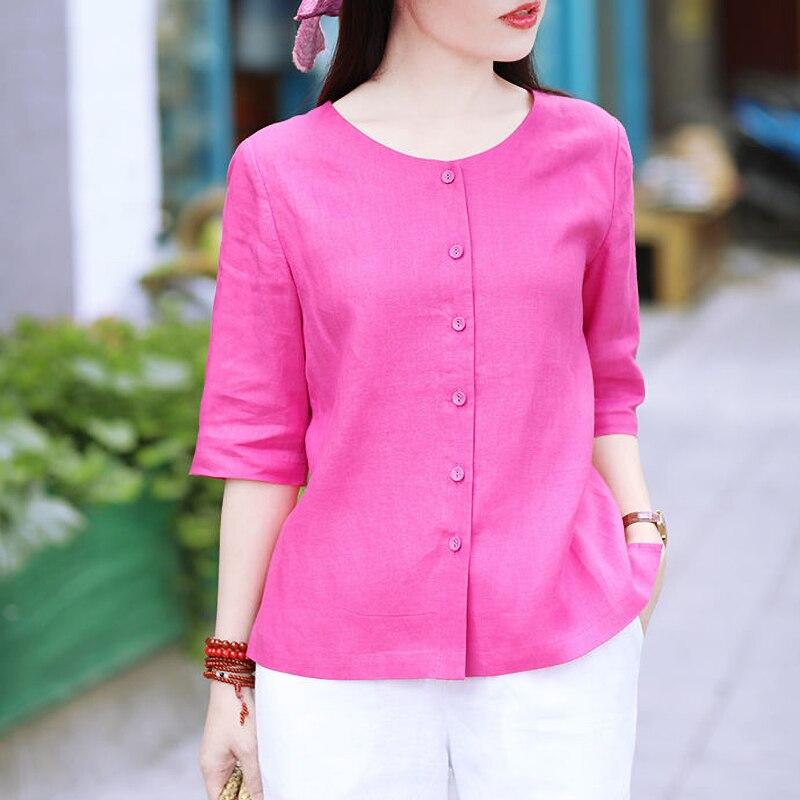 Женская блузка на пуговицах размера плюс, повседневная однотонная блузка из 100% хлопка с круглым вырезом, белого, черного цветов, 4XL, на лето
