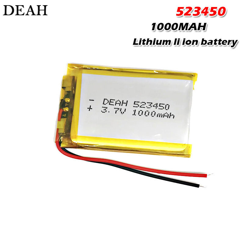 Rechargeable Batteries Led-Lamp Bluetooth-Headset Polymer Lipo Lithium-Ion 523450 1000mah 3.7v title=