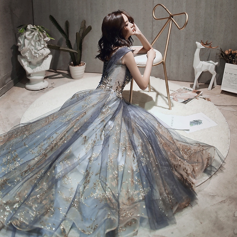 Elegant Ruched Tulle Long Prom Evening Dresses 2019 Sequin Beaded Wedding Formal Party Gowns Lace Up Back Srobe De Soiree