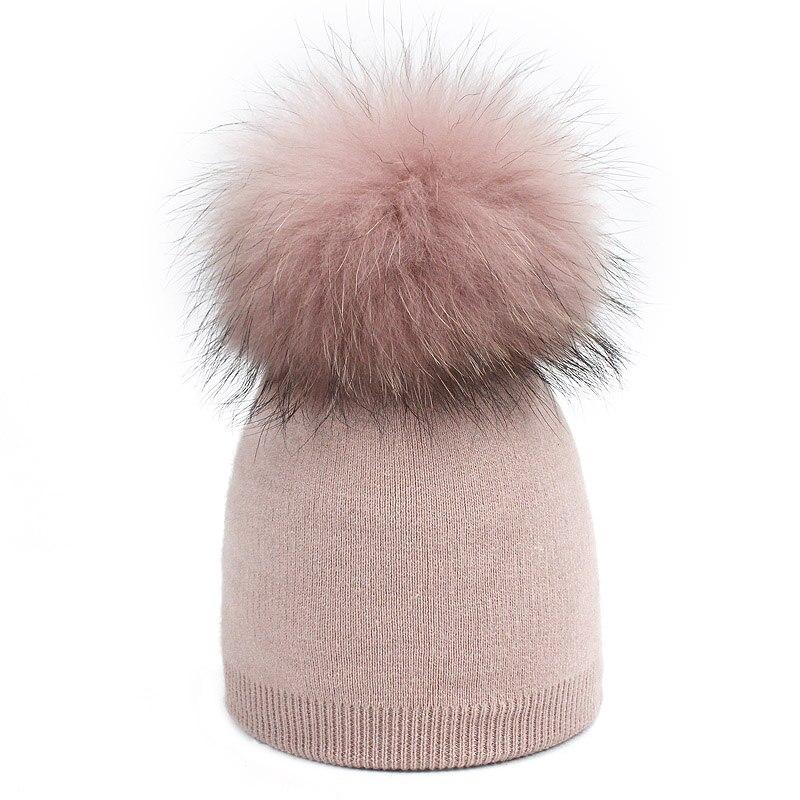 Детская шапка, вязаная цветная шапка с помпоном, Шапка-бини с меховым помпоном, зимняя шапка для мальчиков и девочек, теплая мягкая шапка Skullies Bone для детей - Цвет: H