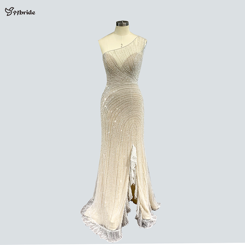 Yybride Elegant Luxury Crystals Dresses One Shoulder Beading Mermaid Floor Length Evening Dresses Bespoke Occasion Prom Dresses