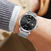 Reloj Automático de CADISEN 8097, relojes mecánicos simples y clásicos para hombre, reloj de negocios de cuero genuino de marca de lujo