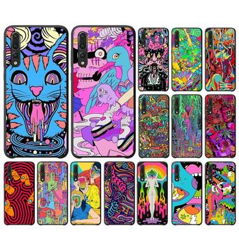 YNDFCNB Colourful Psychedelic Trippy Art Soft Black Phone Case For Huawei P10 20 30 40 Lite P20Pro P30Pro P40Pro Psmart image