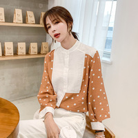 2019 Autumn Korean Style Polka Dot Printed Stand Collar Long Sleeve Loose Fit Chiffon Blouse Shirt Sense of Design Style Shirt W