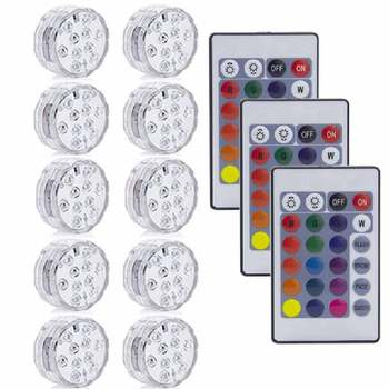 10LED RGB LED Underwater Light Pond Submersible IP67 Waterproof Swimming Pool Light Battery Operated For Wedding Party - 3 Remote 10 Light