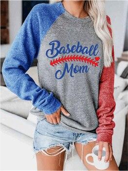 Raglan Sleeve Baseball T shirt Summer Autumn Long Sleeve Tops Tee Women O-neck Loose Tee Print T-shirt 2020 Harajuku Top S-2XL striped print o ring zip front tee
