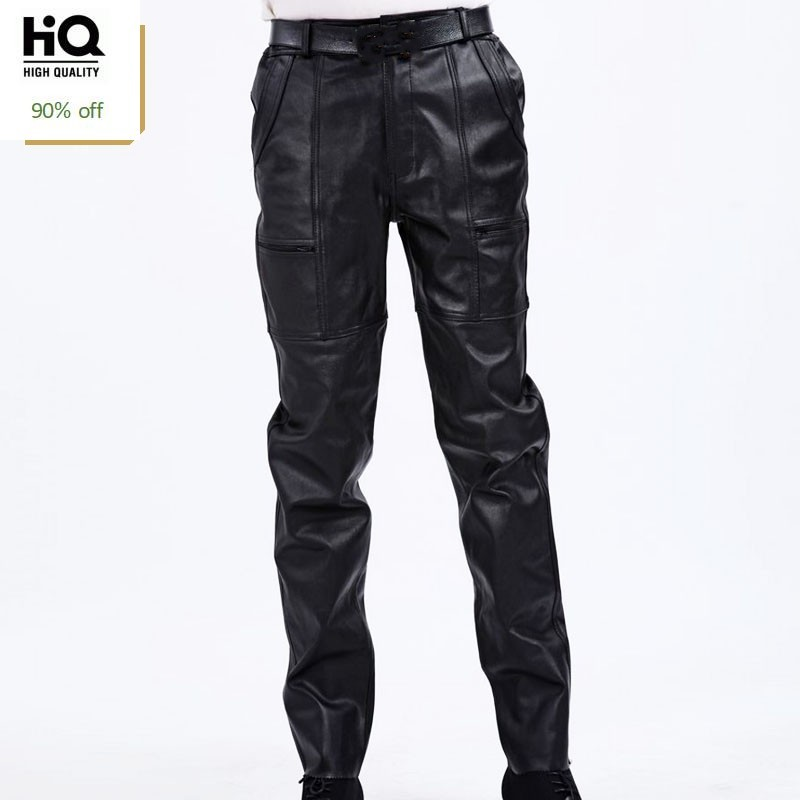 Korean Fashion Casual Men Pants Genuine Leather Business Classic Loose Full Length Trousers Streetwear Straight Black Pant Man