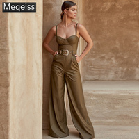 New Summer Women Jumpsuits Strapless Sashes PU Jumpuits Sexy Bodycon Elegant ClubParty Brown Black Jumpsuit Vestidos wholesale