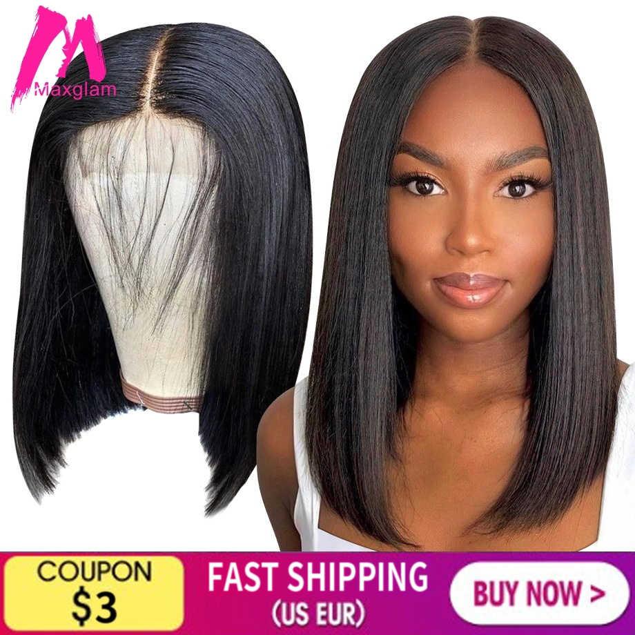 4x4 chiusura del merletto bob parrucca anteriore dei capelli umani parrucche corti frontale brasiliano per le donne nere diritto naturale pieno preplucked remy