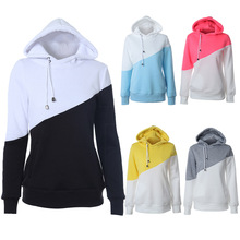 New color matching hooded sweatshirt top women's sweatshirt top chic drawstring hooded pullover shirt shirt sweatshirt women drop shoulder ripped drawstring hooded sweatshirt