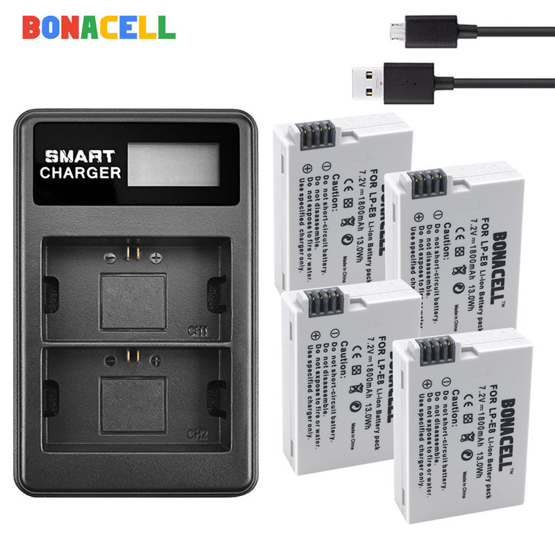 Bonacell LP-E8 LP E8 LPE8 Camera <font><b>Battery</b></font> +Dual Charger For <font><b>Canon</b></font> EOS <font><b>550D</b></font> 600D 650D 700D Kiss X4 X5 X6i X7i Rebel T2i T3i T4i image