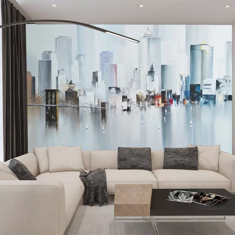 3D Northern European-Style Hand-Painted City Architecture Wallpaper Abstract Art Living Room Wall Cloth Coffee Shop TV Backgroun