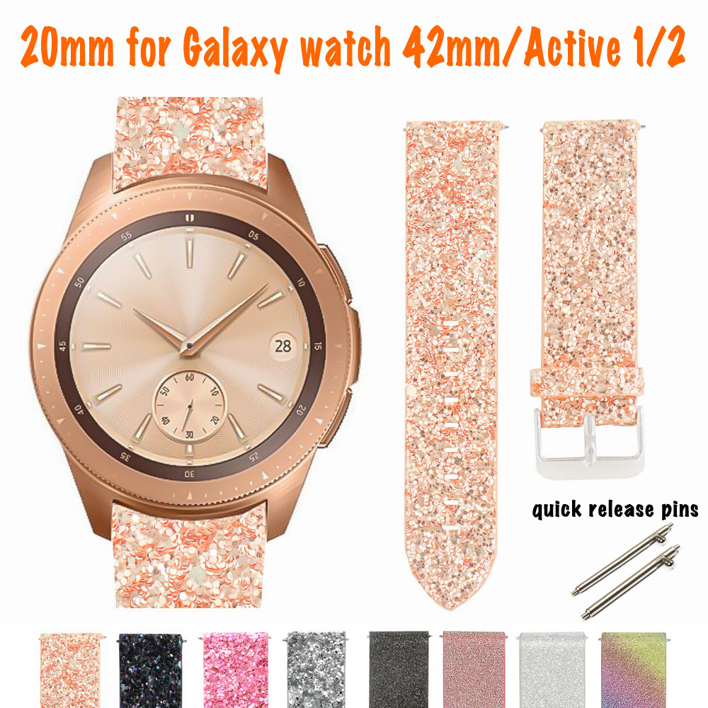 Samsung Galaxy Watch 42mm Smart Watch Strap Leather Band For Galaxy Watch Active 2 Bling Replacement Glitter Watchband Bracelet