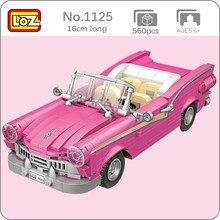 LOZ 1225 różowy kabriolet otwarty samochód Taxi autobus pojazd 3D Model 560 sztuk DIY Mini klocki klocki zabawki do budowania dla dzieci bez pudełka