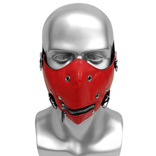Red Faux leather Mask with Silver Alloy Rivet Double Elastic Band Cosplay Party Club Punk Gothic Windproof Hiphop Studded Masks new double steam punk mask steampunk mask gas masks daft punk mighty metal rivet respirator goggles vintage glasses land retro