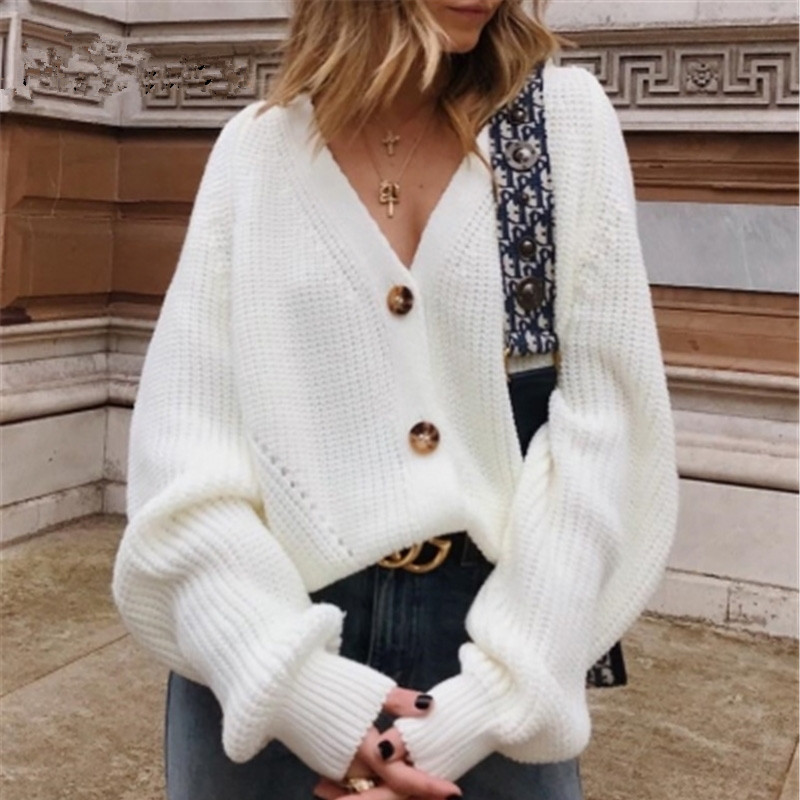 Buttons Up Sweater Cardigan Women Knitwear V Neck Women's Clothing Winter 2019 Cardigan Korean Style Sale