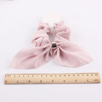 Korea Cute Rabbit Ear Striped Metal Buckle Hair Scrunchies Elastic Hair Bands Ties Rope Bands Ponytail Bands Hair Accessories 2