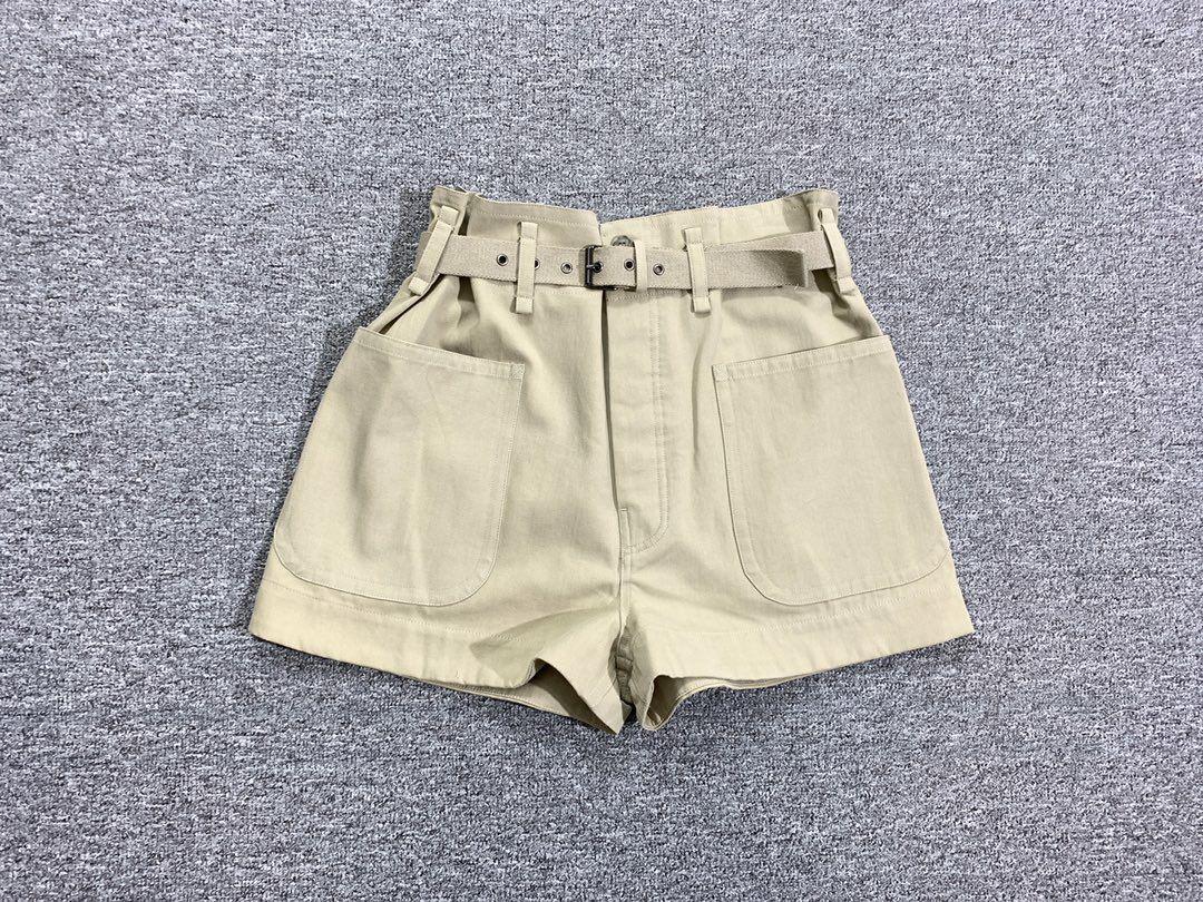 Women Shorts Khaki High Waist Cotton Casual Shorts