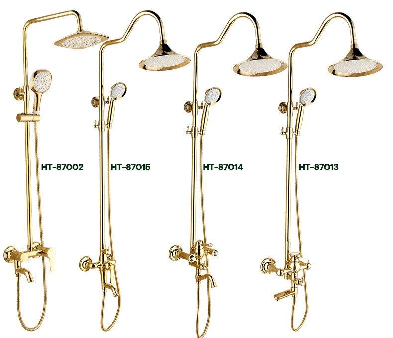 H633f05c64253487b99627c963f8c02fb9 Luxury Shower System Head Tube Shower System Rainfall Gold Shower Faucet Set Torneira Chuveiro Bathroom Accessories Sets BK50HS