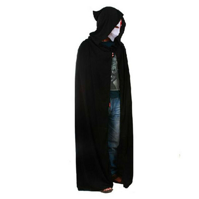 Halloween Costume Adult Death Cosplay Costumes Black Black Hooded Cloak Scary Witch Devil Role Play Cosplay Long Black Cloak(China)