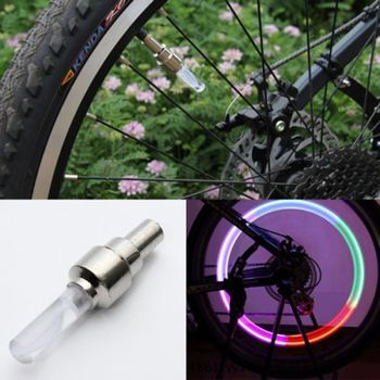 Multi Colour LED Neon Car Bicycle Motion Sensors Bike Tire Tyre Valve Cap Lights Wheel Spoke Fluorescent Lights Safety Warning image