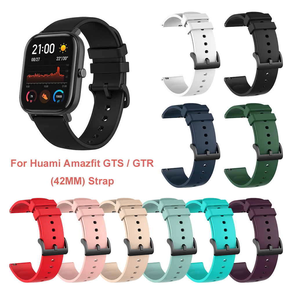 20mm Soft Silicone Sport Strap Band For Xiaomi Huami Amazfit GTS Bip Pace Lite Smart Watch Replacement Bracelet Rubber Watchband