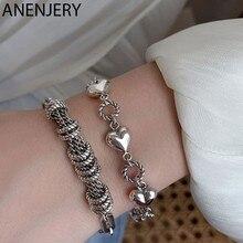 ANENJERY – Bracelet en argent Sterling 925 pour femme, bijou Vintage avec pompon en forme de cercle et de cœur, cadeau idéal, S-B507