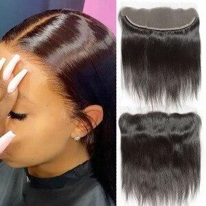 Предварительно выщипанные кружевные фронтальные волосы, натуральные волосы, перуанские прямые волосы 13x4, кружевные фронтальные волосы с д...