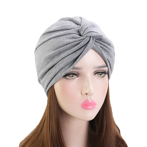 Muslim Women Elastic Cotton Turban Hat Bohemian style twist turban Chemo Beanie Cap Scarf Headwear Headwrap Hair Loss Cover