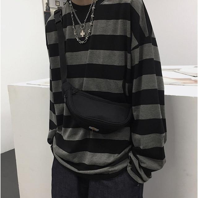 Harajuku Oversized High Street Stripe T-shirt long sleeves vintage style All-match fashion Unisex clothes Japanese Streetwear 5