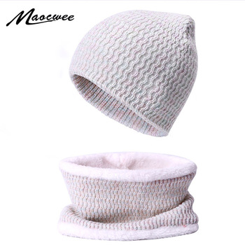 Women Winter Thick BeaniesHat Scarf Set With Lining Warm Hat And Scarf Sets Female Soft Bonnet Femme Skullies Cap Ladies Scarves